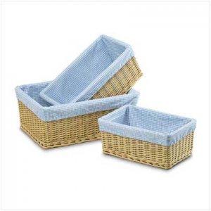 3 Blue & White Gingham Baskets