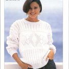 Patons KNITTING PATTERN  Cable Pullover with Lacy inset in DK