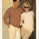 Patons KNITTING PATTERN  Pullover with Cable accent for Men or Women