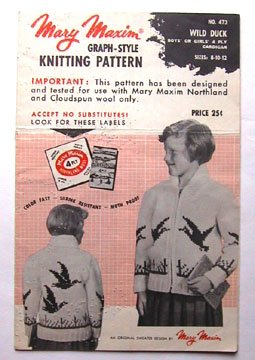 1956 VINTAGE Mary Maxim KNITTING PATTERN Wild Duck