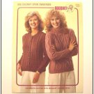 KNITTING Patterns Womens CABLE CARDIGAN & PULLOVER Chunky Weight