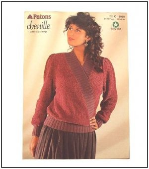 KNITTING Pattern V-NECK CROSSOVER Sweater in Chenille