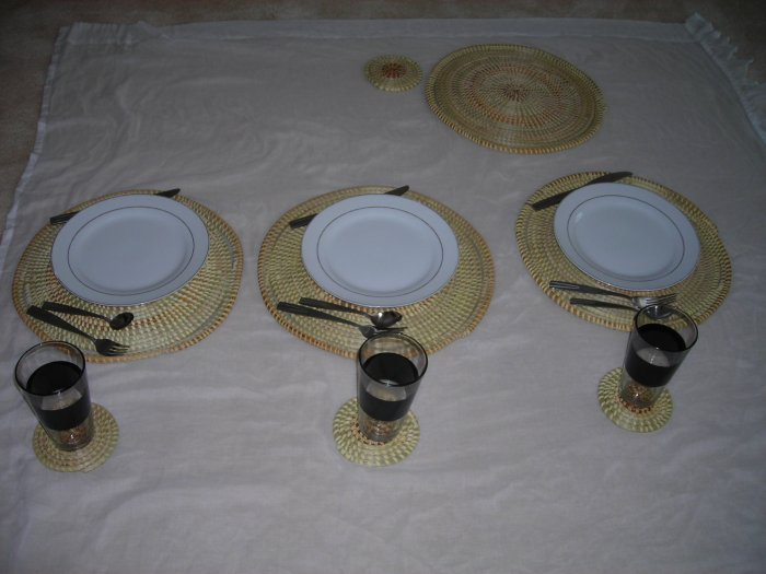 Place Mat Setting and Coasters