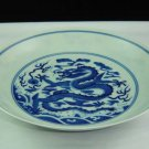 China Qing Dynasty Yongzheng time blue dragon china dish