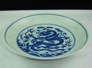 China Qing Dynasty Yongzheng time blue dragon china dish