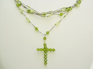 Green Swarovski Crystal + Japanses Silk Crucifix Pendant and Necklace