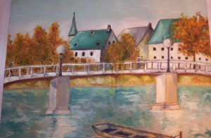 "Milton Cairoli oil painting ""Tejados verdes"""