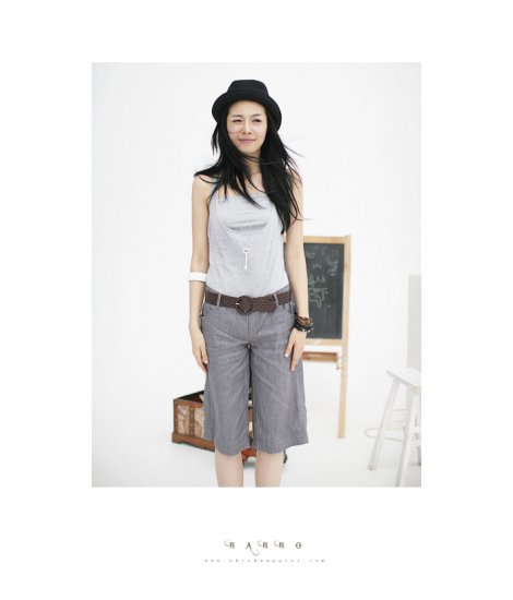 WS34015 New Korean Business/ Casual Style 2pcs Black Color  Pant With Tube Top  (Come with Belt)