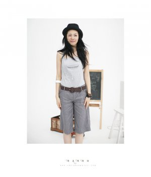 WS34015-2 New Korean Business/ Casual Style 2pcs Grey Color  Pant With Tube Top  (Come with Belt)