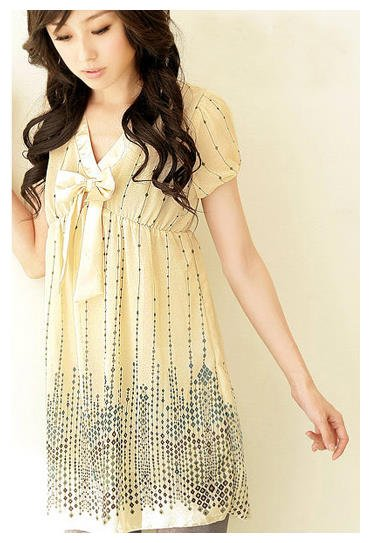 T12089 New Korean Style Beige Color Printed Long Top With Ribbon