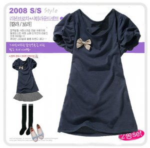 T12059 New Japanese  Short Princess Style Sleeve With Cute Ribbon