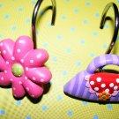 Girls Bathroom Shower Hooks Shoe & Purse Curtain Hooks
