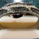 Suzanne Somers Ladies Hidden Watch Bracelet Crystal Smoky Topaz Retro Vintage Fine Jewelry