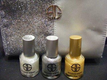 Studio Gear Nail Polish Holiday Set Gold Silver White 4 Piece Set!