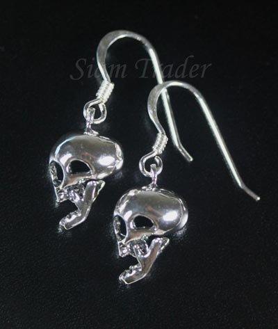 Sterling Silver Skull Dangling Earrings AESS142