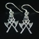 Sterling Silver Skull & Crosses Axes Dangling Earrings AESS589