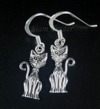 Sterling Silver Cat Dangling Earrings AESS1881