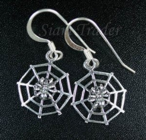 Sterling Silver Spider & Web Earrings AESS1933