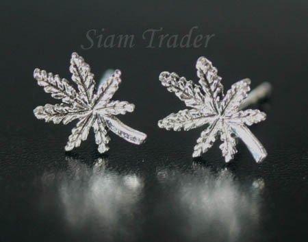 Sterling Silver  Marijuana Leaf Earrings AESS1870