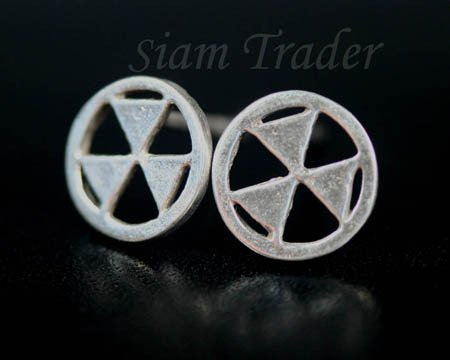 Sterling Silver Radioactive Symbol Earrings AESS1263