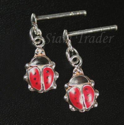 Sterling Silver Lady Bug Earrings HSS212