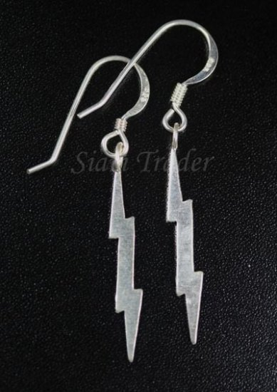 Sterling Silver Lightning Bolt - Dangling Earrings AESS146