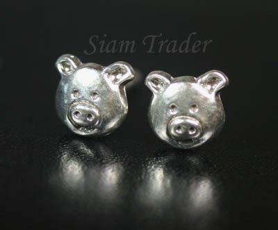Sterling Silver Pig -  Stud Earrings AESS1781