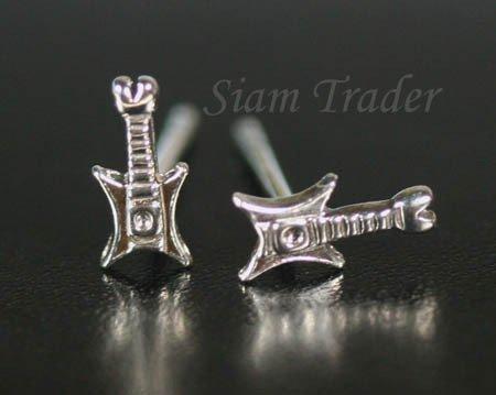 Sterling Silver Guitar Stud Earrings PSS10