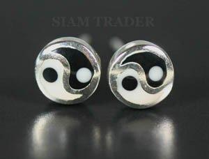 Sterling Silver Yin & Yang - Onyx & Bone Stud Earrings AESS85