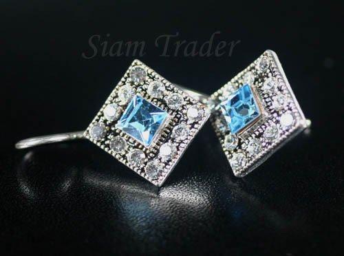 Sterling Silver Earrings w/ Aquamarine Swarovski Crystals YSS80
