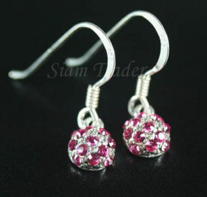 "Sterling Silver ""Berry"" Earrings Covered with Swarovski Rose Crystals YSS79"