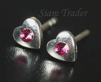 Sterling Silver Heart Earrings w/ Swarovski Rose Crystal XSS306