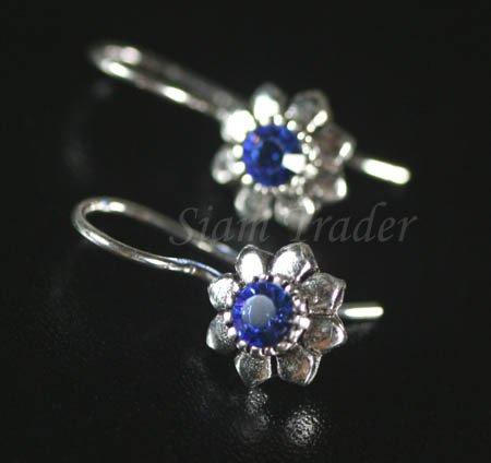 Sterling Silver flower Earrings w/ Swarovski Sapphire Crystal YSS51