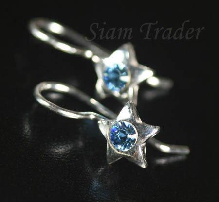 Sterling Silver Star w/ Swarovski Aquamarine Crystal Earrings YSS56