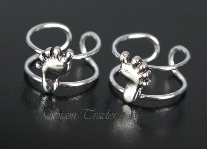 Sterling Silver Bare Feet Ear Cuffs CSS289