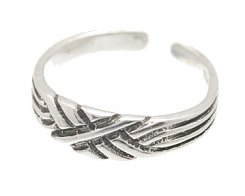 Sterling Silver - Thatched - Toe Ring TRSS129