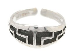 Sterling Silver - Maze Imprint - Toe Ring TRSS139