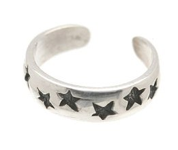 Sterling Silver - Imprinted Stars - Toe Ring TRSS2