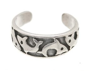 Sterling Silver - Dolphins - Toe Ring TRSS30