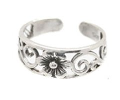 Sterling Silver - Stylish Flower - Toe Ring TRSS35