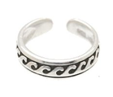 Sterling Silver - Small Waves - Toe Ring TRSS36