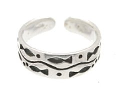 Sterling Silver - Stream of Fish - Toe Ring TRSS37