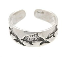 Sterling Silver -Imprinted Dolphins - Toe Ring TRSS5