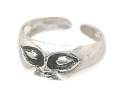Sterling Silver - Big Eyes w/ Face - Toe Ring TRSS51
