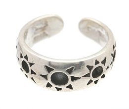 Sterling Silver -Imprinted Suns - Toe Ring TRSS6