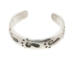 Sterling Silver - Footprints - Toe Ring TRSS71