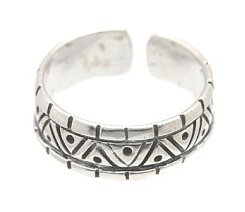 Sterling Silver - Aztec Design - Toe Ring TRSS76