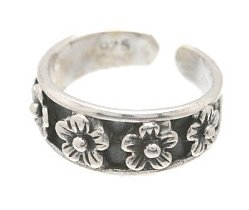 Sterling Silver - Raised Flowers - Toe Ring TRSS77