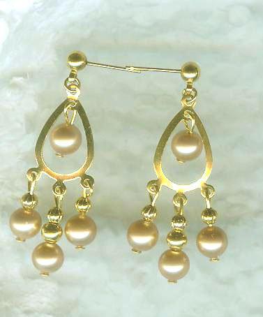 Champagne Pearls on Goldtone Teardrop Chandeliers
