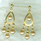 Champagne Pearls on Goldtone Teardrop Chandeliers